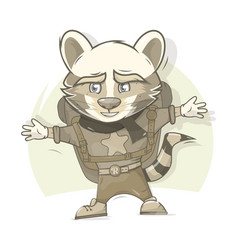 Raccoon returned home beasts travelers vector