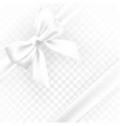 realistic white bow element for decoration gifts vector image