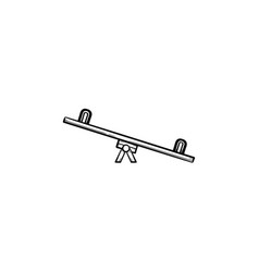 Seesaw hand drawn outline doodle icon vector