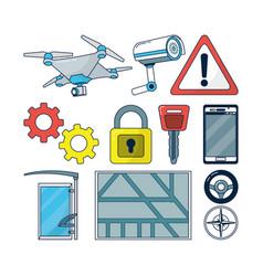 set of autonomous car icons vector image