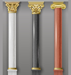 set of classic gold and marble columns vector image