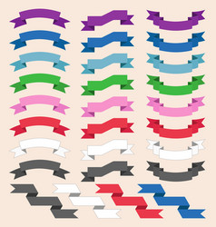 Set of colored skrolled ribbons or banners vector