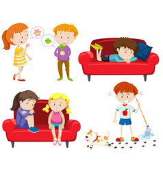 Set of emotional children vector