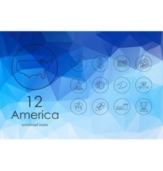 Set of United States icons vector image