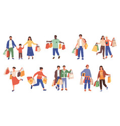 shopping characters retail purchase and byers at vector image