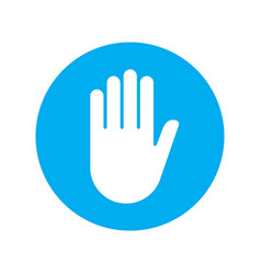 Sign push hand blue icon vector