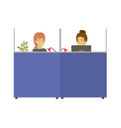 Silhouette color cubicles workplace office with vector