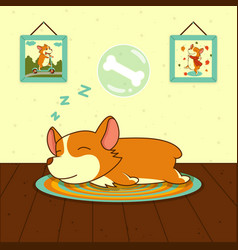 sleeping cute welsh corgi dog on mat sweet puppy vector image