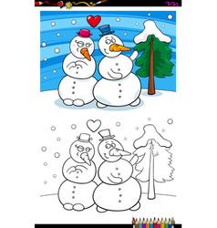 snowmen in love coloring book vector image