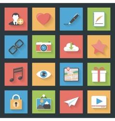 Socia media web flat icons set vector image