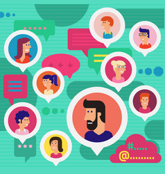 social networks users global chatting concept vector image