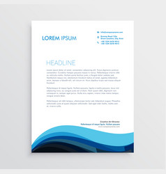 Stylish blue wave letterhead design for your vector