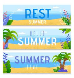 Summer vacation rest flat banners set vector