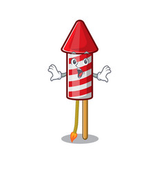 Surprised fireworks rocket mascot in cartoon shape vector