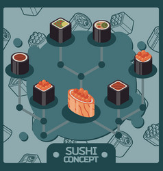 sushi color isomeric concept icons vector image
