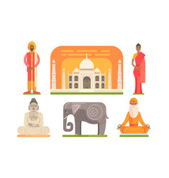 traditional national indian symbols set indian vector image