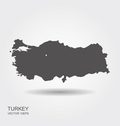 turkey map flat icon with shadow vector image