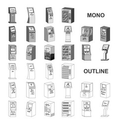 Variety of terminals monochrom icons in set vector