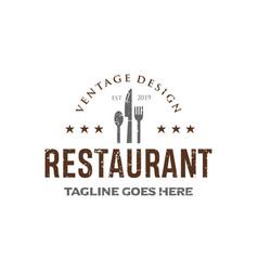 vintage restaurant logo design inspirations vector image