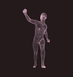 Walking man human with arm up sport leader vector