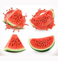 Watermelon juice fresh fruit 3d realistic icon vector