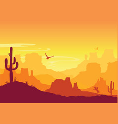 Western american desert arizona prairie landscape vector