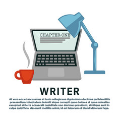 writer profession laptop and lamp coffee cup vector image