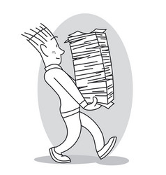 young man carries a large stack of papers vector image