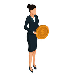 business woman with coin 3d vector image
