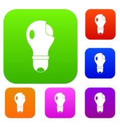 broken lightbulb set color collection vector image vector image