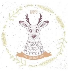 Deer cute character vector image vector image