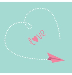 Flying paper plane Big dash heart in the sky Love vector image