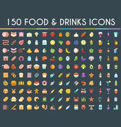 food and drinks big icons set vector image