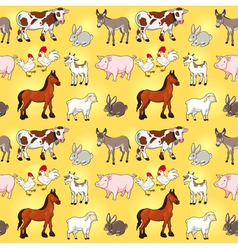 Funny farm animals with background vector