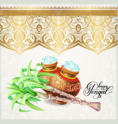 happy pongal greeting card to south indian harvest vector image
