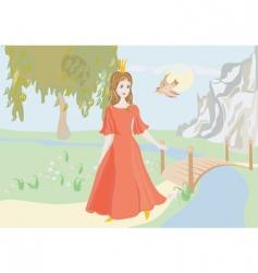 princess with bird vector image