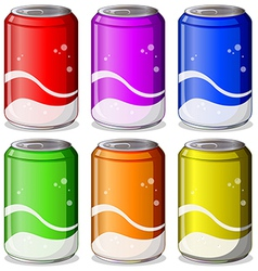 Six colorful soda cans vector image