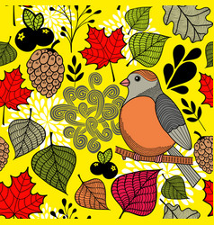 black and with bird on the branch and autumn vector image