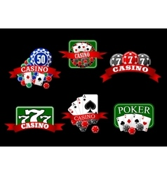 Casino poker jackpot and roulette icons vector image