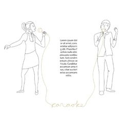 Couple singing into microphone vector image