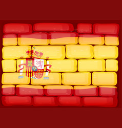 Flag of spain painted on the wall vector