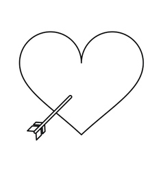 heart with arrow love symbol outline vector image