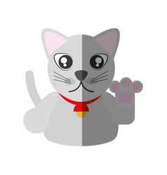 maneki neko - cat japanese shadow vector image