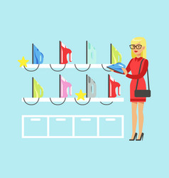 Young blond woman choosing an iron in home vector