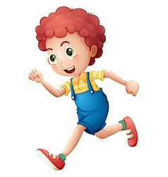 A curly young boy running vector image