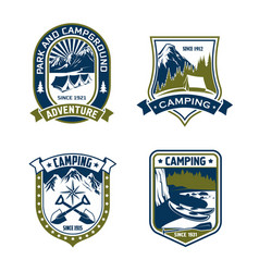 camping badge shield of mountain or forest camp vector image vector image