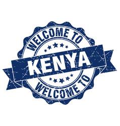 kenya round ribbon seal vector image