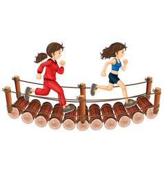 two girls running on the wooden bridge vector image vector image