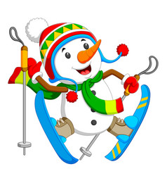a happy snowman is jumping with blue ice skating vector image