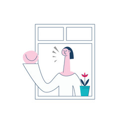 angry woman threaten gesture of the window vector image